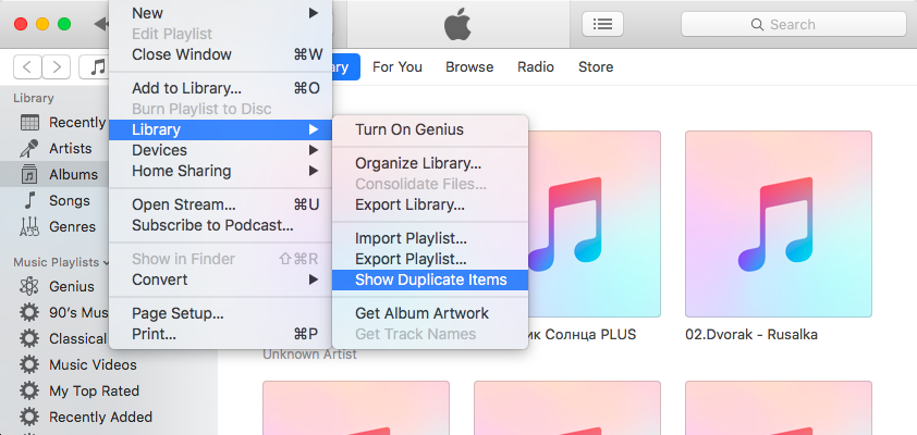 remove itunes duplicates